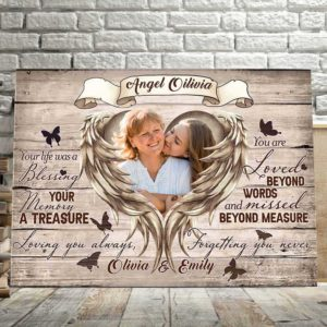 CAVA-U-Fami-UntiAgaiAnglWing-F9-1 @ Family Until Again Angle Wings-Personalized Mother Memorial Gift For Loss Of Mother. Custom Mother Loss Memorial Keepsake. Bereavement Sympathy Memorial Canvas Wall Art.