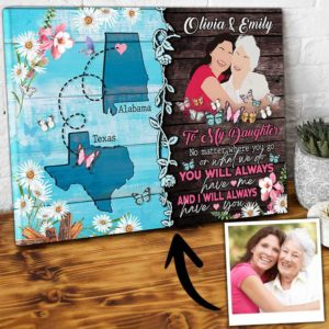 CAVA-U-Fami-YouAlwaHaveMe-F9-0 @ Family You Always Have Me-Gifts For Long Distance Mom With Daughter Present For Daughter Canvas From Mother State To State Gifts For Long Distance Daughter Gifts