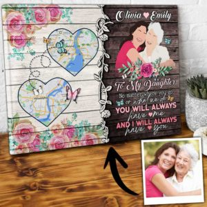 CAVA-U-Fami-YouHaveMeHearMap-F9-0 @ Family You Have Me Heart Map-Drawing My Loving Daughter Gift From Mother Canvas For Daughter Custom Location Map State To State Gifts For Long Distance Birthday Gifts