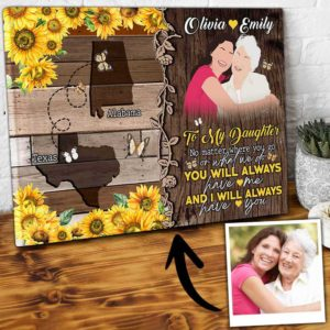 CAVA-U-Fami-YouHaveMeTreeMap-F9-0 @ Family You Have Me Tree Map-Long Distance Gifts To My Daughter Canvas Present From Mother Custom Location Canvas For Daughter With Names And Map For Mothers Day Gift