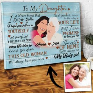 CAVA-U-Fami-YourSecrStruBlueWood-F9-0 @ Family Your Secret Struggles Blue Wood-Personalized Mother With Daughter Gift From Mom Canvas For Loving Daughter With Names And Personalized Portrait For Mothers Day Present
