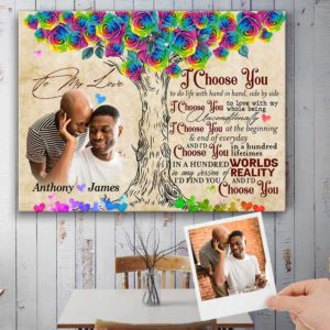 CAVA-U-Lgbt-ChooYouWateRoseTree-Lgbt-0 @ Lgbt Choose You Rose Tree-I Choose You Custom Photo Canvas. Personalized Gay Couple Gift. Unique Valentines Anniversary Gift For Wife Husband Boyfriend Girlfriend