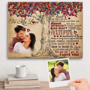 CAVA-U-Lgbt-WeAreTeamTree-Lgbt-0 @ Lgbt We Are Team Tree-Custom Loving Couple To My Love Photo Canvas. Couple Anniversary Gift Personalized Valentines Gift For Girlfriend Boyfriend Wife Husband