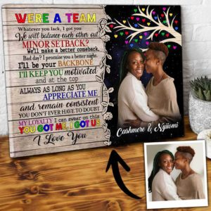 CAVA-U-Lgbt-WeAreTeamTree-Lgbt-2 @ Lgbt We Are Team Tree-Personalized We Are A Team Couple Photo Canvas. Custom Lgbt Gay Couple Gift. Create Your Own Engagement Gift For Lesbian Couples