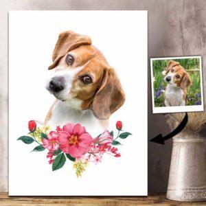 CAVA-W-Dog-FlwrFram-Dog-0 @ Dog Flower Frame-Personalized Dog Passing Gift. Custom Dog Memorial Gift. Dog Loss Portrait Photo Canvas Print. Dog Portrait Remembrance Gift For Dog Lover.