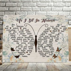 CAVA-W-Fami-AsInHeavWhitFlwr-F9-0 @ Family As In Heaven White Flower-Memorial Gift For Family Loss. Memorial Canvas Memorial Keepsake. Bereavement Remembrance Gift Grieving, Sympathy Gift Condolence Wall Art.