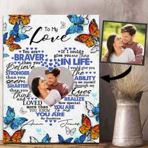 CAVA-W-Fami-BravStroSmarBtf-F9-0 @ Family Braver Stronger Smarter Butterfly-Personalized To My Love Photo Canvas. Couple Anniversary Gift. Customized Valentines Gift For Couple. Family Wall Art Print Canvas.