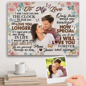 CAVA-W-Fami-FindYouSoonClocBtf-F9-0 @ Family Find You Sooner Clock Butterfly-Personalized Couple My Loving Photo Canvas. Valentines Custom Gift For Couple. Unique Anniversary Gift For Couple. Wall Art Print Canvas.