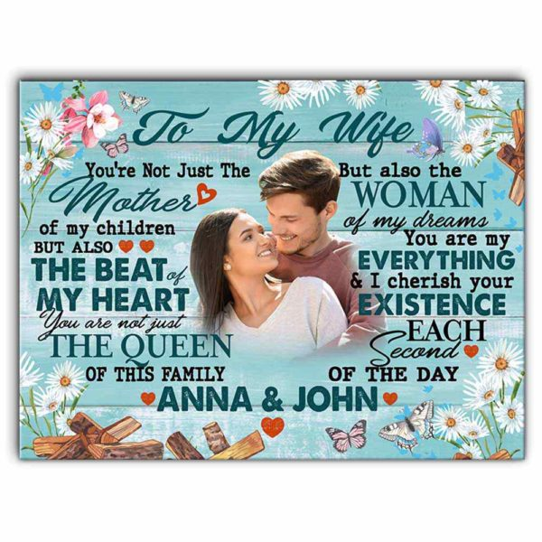 CAVA-W-Fami-MothOfMyChilBtf-F9-0 @ Family Mother Of My Children Butterflypsb-Custom To My Wife Photo Canvas. Personalized Mothers Day Gift For Her. Anniversary Gift For Wife. Valentines Gift Wall Art Canvas For Women