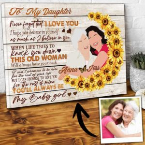 CAVA-W-Fami-YourSecrStruSfl-F9-0 @ Family Your Secret Struggles Sunflower-Unique My Loving Daughter Gift From Mom Canvas For Daughter With Names And Personalized Portrait For Birthday Present
