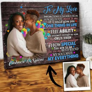 CAVA-W-Lgbt-MyEverFlwr-Lgbt-0 @ Lgbt My Everything Flower-Personalized Couple Portrait From Photo. Custom Lesbian Couple Gift. Customizable Lgbt Anniversary Gift For Gay Couple. Wall Art Canvas.