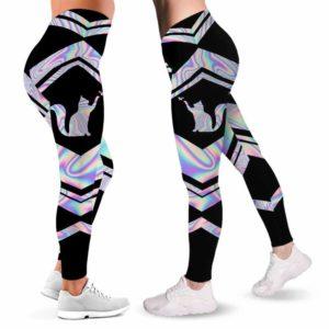 LEGG-W-Ani-Vy1AnimPinkLine-Cat-0 @ Cat-Cat Leggings For Women. Colorful Color Gradient Cat Pattern Printed Leggings. Yoga Workout Custom Women Leggings Gift For Her.