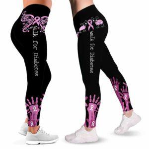 LEGG-W-Awa-BreaCancHand-BreCan-0 @ Breast Cancer Hands-Breast Cancer Awareness Ribbon Leggings For Women. Hand Pattern Women Leggings. Custom Gift For Her, Gift For Women Survivor Fighter.