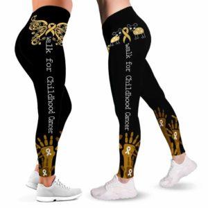 LEGG-W-Awa-ChilCancHand-Chca-0 @ Childhood Cancer Hands-Childhood Cancer Awareness Ribbon Leggings For Women. Hand Pattern Women Leggings. Custom Gift For Her, Gift For Women Survivor Fighter.