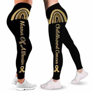 LEGG-W-Awa-ChilCancWarr-Chca-0 @ Childhood Cancer Warrior-Childhood Cancer Awareness Ribbon Leggings For Women. Warrior Pattern Women Leggings. Custom Gift For Her, Gift For Women Survivor Fighter.