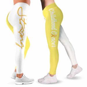 LEGG-W-Awa-ChilCancYingYang-Chca-0 @ Childhood Cancer Ying Yang-Childhood Cancer Awareness Ribbon Leggings For Women. Yin Yang Pattern Women Leggings. Custom Gift For Her, Gift For Women Survivor Fighter.
