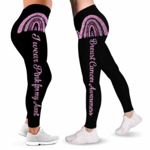 LEGG-W-Awa-IWearPinkAunt-BreCan-0 @ Breast Cancer I Wear Pink Aunt-Breast Cancer Awareness Ribbon Leggings For Women. For My Aunt Pattern Women Leggings. Custom Gift For Her, Gift For Women Survivor Fighter.