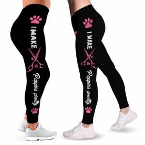 LEGG-W-Job-VY1PinkTxtScis-Dgrm-0 @ Dog Groomer I make puppies pretty-Proud Dog Groomer Leggings For Women. Dog Grooming Puppies Pattern Women Leggings. Yoga Workout Gift For Women, Birthday Gift For Her.