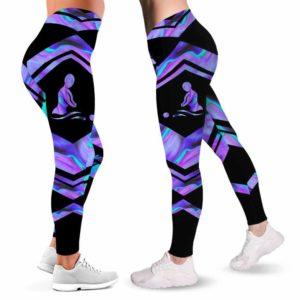 LEGG-W-Job-Vy1NursJobFluiLine-Msst-0 @ Massage Therapist-Proud Therapist Leggings For Women. Massage Therapist Blue Purple Pattern Women Leggings. Yoga Workout Custom Gift For Her, Gift For Women.