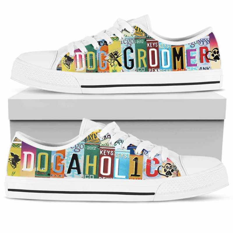 LTS-U-Job-DoggPlat-Dgrm-0@ Dog Groomer Doggaholic Plate-Dog Groomer Furologist Tennis Shoes Gym Low Top Shoes Sneakers For Women And Men. Dogaholic License Plate Custom Personalized Gift.