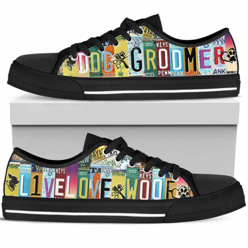 LTS-U-Job-LiveLoveWoofPlat-Dgrm-0@ Dog Groomer Live Love Woof Plate-Dog Groomer Furologist Tennis Shoes Gym Low Top Shoes Sneakers For Women And Men. Live Love Woof License Plate Custom Personalized Gift.