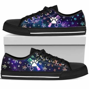 LTS-U-Job-PawSissBlueGlxy-Dgrm-0@ Dog Groomer Paw Sissors Blue Galaxy-Dog Groomer Furologist Tennis Shoes Gym Low Top Shoes Sneakers For Women And Men. Blue Galaxy Grooming Tool Custom Personalized Gift.