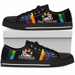LTS-U-Job-TieDyeFootPrinLine-Dgrm-0 @ Dog Groomer Tie Dye Foot Print Line-Dog Groomer Shoes Tie Dye Shoes For Mens, Womens Tennis Custom Shoes, Custom Low Top