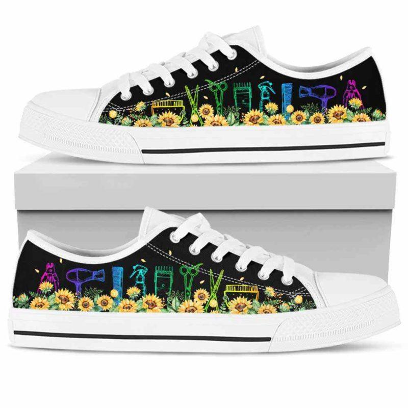 LTS-W-Job-ToolAndSfl-Dgrm-0 @ Dog Groomer Tools And Sunflower 2-Dog Groomer Shoes Tools And Sunflower Shoes For Mens, Womens Tennis Custom Shoes, Custom Low Top
