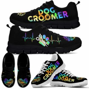 SS-U-Job-LoveGlxy-Dgrm-0 @ Dog Groomer Love Galaxy-Dog Groomer Furologist Sneakers Gym Running Shoes, Gift For Women And Men. Dog Grooming Heartbeat Custom Personalized Shoes.