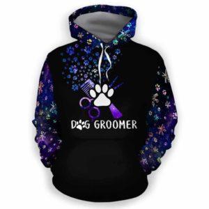 AOPH-U-Job-PawSissBlueGlxyMid-Dgrm-0 @ Dog Groomer Paw Sissors Blue Galaxy Mid-Dog Groomer Paw Galaxy All Over Print Hoodie
