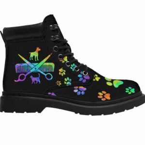ASB-U-Job-GrooToolPetGroo-Dgrm-0 @ Dog Groomer Grooming Tools Pet Groomer-Dog Groomer Paws Watercolor All Season Boots