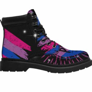 ASB-U-Lgbt-PridBise-Bsex-0 @ Lgbt Pride Bisexuality-Bisexual Bisexuality All Season Boots Vegan Leather Boots, Gift For Women And Men. Lgbt Pride Custom Personalized All Weather Hiking Boots.