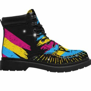 ASB-U-Lgbt-PridPans-Psex-0 @ Lgbt Pride Pansexuality-Pansexual Pansexuality All Season Boots Vegan Leather Boots, Gift For Women, Men. Lgbt Pride Custom Personalized All Weather Hiking Boots.