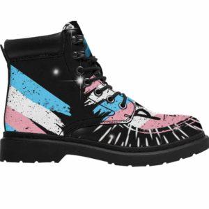 ASB-U-Lgbt-PridTran-Tgen-0 @ Lgbt Pride Transgender-Transgender All Season Boots Vegan Leather Boots, Gift For Women And Men. Lgbt Pride Custom Personalized All Weather Hiking Boots.
