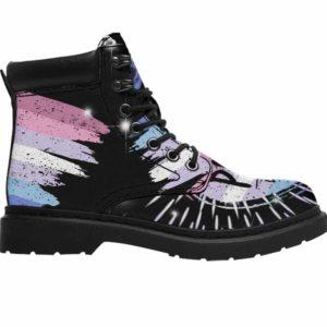 ASB-U-Lgbt-Vy1Bige-Bgen-0 @ Lgbt Bigender-Bigender Bigender All Season Boots Vegan Leather Boots, Gift For Women And Men. Lgbt Pride Custom Personalized All Weather Hiking Boots.