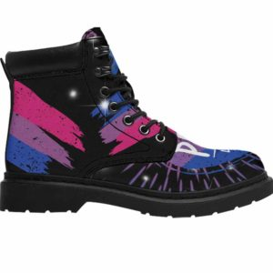 ASB-U-Lgbt-Vy1BiseFlag-Bsex-0 @ Lgbt Bisexual FLag-Bisexual Bisexuality All Season Boots Vegan Leather Boots, Gift For Women Men. Lgbt Pride Flag Custom Personalized All Weather Hiking Boots.
