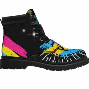 ASB-U-Lgbt-Vy1PansFlag-Psex-0 @ Lgbt Pansexual FLag-Pansexual Pansexuality All Season Boots Vegan Leather Boots, Gift For Women And Men. Lgbt Pride Flag Custom All Weather Hiking Boots.