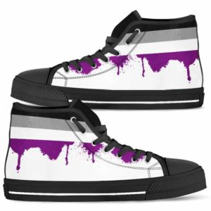 HTS-U-Lgbt-Vy1AsexFlag-Asex-0 @ Lgbt Asexual Flag-Asexual Asexuality Lgbt Asexual Flag Canvas Shoes High Top Shoes. Gift For Women And Men. Personalized Customizable Shoes.