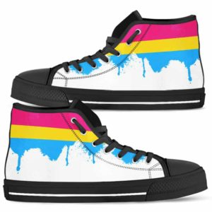 HTS-U-Lgbt-Vy1PansFlag-Psex-0 @ Lgbt Pansexual Flag-Pansexual Pansexuality Lgbt Pride Pansexual Flag Canvas Shoes High Top Shoes. Gift For Women And Men. Personalized Customizable Shoes.