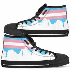 HTS-U-Lgbt-Vy1TranFlag-Tgen-0 @ Lgbt Transgender Flag-Transgender Lgbt Pride Transgender Flag Canvas Shoes High Top Shoes. Gift For Women And Men. Personalized Customizable Shoes.