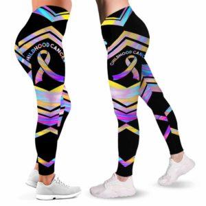 LEGG-W-Awa-ChilCancLine-Chca-0 @ Childhood Cancer Line-Childhood Cancer Awareness Ribbon Leggings For Women. Colorful Line Pattern Women Leggings. Custom Gift For Her, Gift For Survivor Fighter.