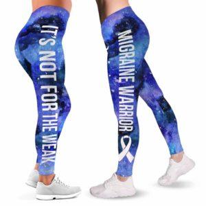 LEGG-W-Awa-MigrWate-Migrai-0 @ Migraine Awareness Warrior NFTW-Migraine Awareness Ribbon Leggings For Women. Galaxy Pattern Women Leggings. Custom Gift For Her, Gift For Survivor Fighter.