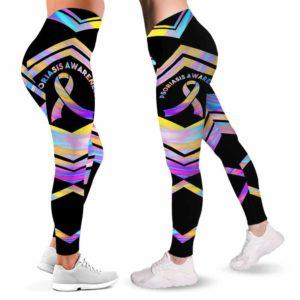 LEGG-W-Awa-PsorAwaLine-Psor-0 @ Psoriasis Awareness Line-Psoriasis Awareness Ribbon Leggings For Women. Colorful Line Pattern Women Leggings. Custom Gift For Her, Gift For Survivor Fighter.