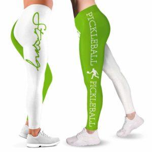 LEGG-W-Hobb-GreePick-Pklb-0 @ Green Pickleball-Pickleball Leggings For Women. Strong Green Pattern Women Leggings. Workout Yoga Pants Customizable Gift For Women, Gift For Her.