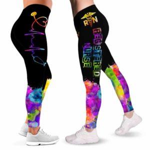 LEGG-W-Nur-Vy1RnHearRain-RN-0 @ Rn Registered Nurse Heartbeat Rainbow-Proud Rn Leggings For Women. Registered Nurse Rainbow Heartbeat Pattern Women Leggings. Yoga Workout Custom Gift For Her, Gift For Women.