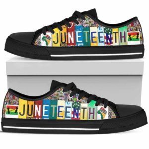 LTS-U-Ctry-Vy1JuneAlphRain-Jute-0 @ Juneteenth Alphabet Rainbow-Juneteenth Independence Day Tennis Shoes Gym Low Top Shoes Sneakers. African American Juneteenth Custom Personalized Gift For Women Men.