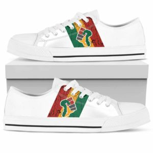 LTS-U-Ctry-Vy1WhitFlagHand-Jute-0 @ Juneteenth White Flag Hand-Juneteenth Independence Day Tennis Shoes Gym Low Top Shoes Sneakers. African American Flag Hand Custom Personalized Gift For Women Men.
