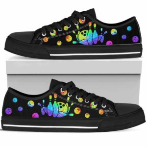 LTS-U-Hobb-BowlWate-Bwl-0 @ Bowling Watercolor-Bowling Tennis Shoes Gym Low Top Shoes Sneakers. Bowling Pattern Watercolor Custom Personalized Gift For Women And Men.
