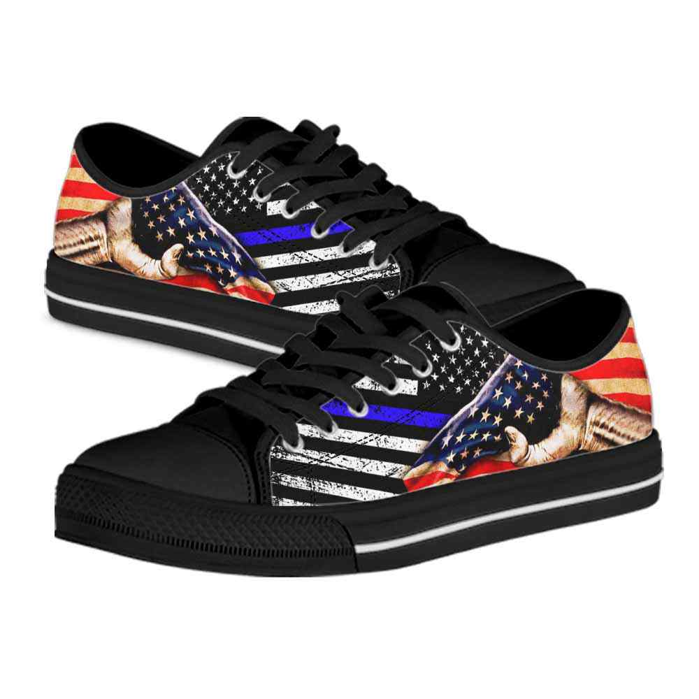 LTS-U-Job-IndeDay-Plof-0 @ Police Independence Day-Police Tennis Gym Shoes Low Top Shoes Sneakers. Thin Blue Line Usa Flag Independence Day Custom Personalized Gift For Women And Men.