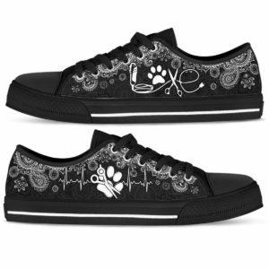 LTS-U-Job-LoveBwMdl-Dgrm-0 @ Dog Groomer Love BW Mandala-Mandala Paw Heartbeat Dog Groomer Low Top Shoes